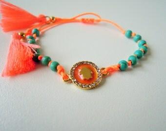 hamsa bracelet - valentine gifts for her - friendship bracelet - best friend gift - tennis bracelet - blue tassel - wife gift - fiance gift