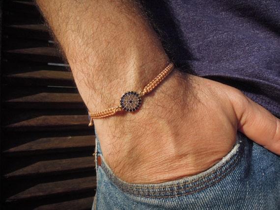 Evil Eye perles Bracelet, bracelet d\u0027yoga, bracelet homme, Bracelet de l