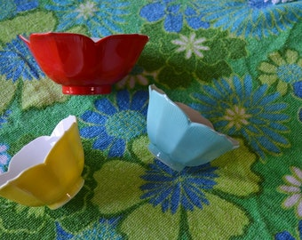 Set of Three Vintage Lotus Bowls - Red, Yellow and Blue