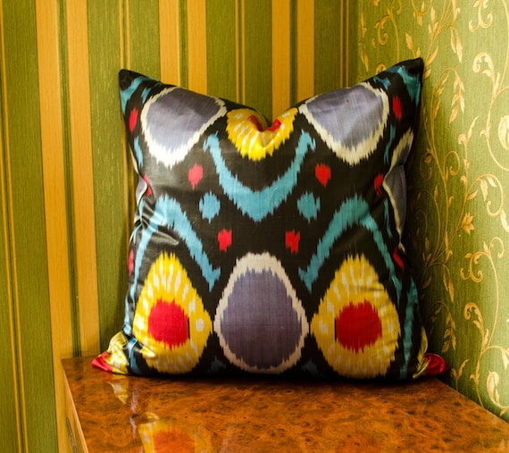 15x15 ikat satin pillow cover gray black yellow red colored