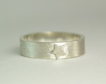 Silver Star Ring, Sterling Thick Satin Band, Star Band, Hand Made Custom Artisan Jewelry, custom sized