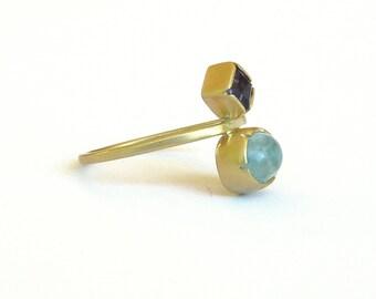 Amethyst Ring Gold Aquamarine Ring Double Stone Ring  Handmade  Fine Jewelry