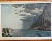 1900 STORM WEATHER print original antique print - sun rain storm meteorological