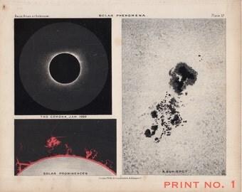 1892 SOLAR PHENOMENA print original antique astronomy celestial lithograph