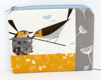 Small Zippered Pouch, Charley Harper Birds in Nest, Patchwork Coin Purse