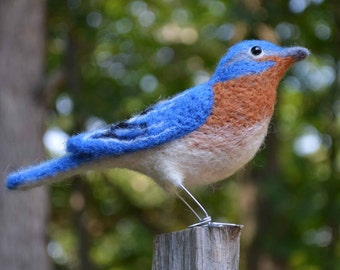 Mr. Eastern Bluebird, needle felted bird fiber art
