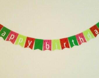 Watermelon Birthday Banner, Fruit Garland, Summer Decoration, Birthday Party, Kitchen Decor