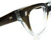 Vintage Mens Womens Brown Clear Hornrim Cateye Eyeglasses Eyewear Frame NOS