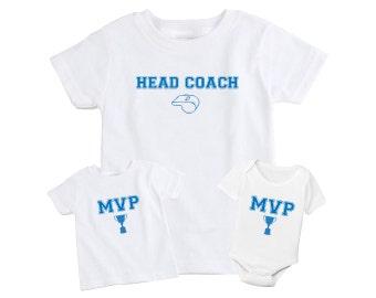 Father + Daughter / Son Matching T-Shirt- Head Coach & MVP