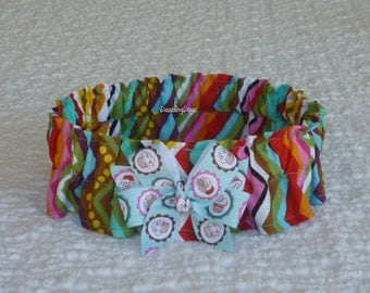 "Zig Zag Party Stripe & Dots Dog Scrunchie Collar with cupcake bow - Size XXL: 20"" to 22"" neck - TrY Me PRiCe"