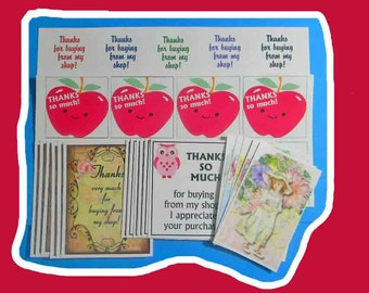 35-Piece Combo Pack of Thank Yous. 17 Cards, 10 Round Labels, 8 Square Stickers. 5184