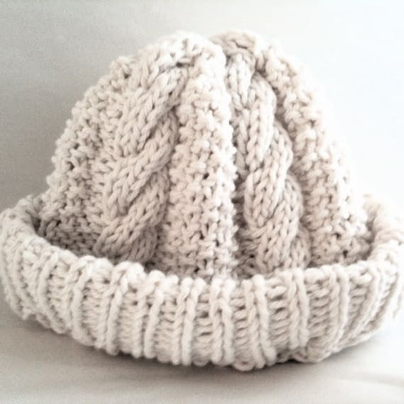 Baby Hat - Cotton - Watchcap - Cabled Hat - Beanie - Fisherman's Cap - Cream - Baby Boy