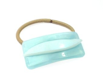 Ponytail Holder, Hair Tie, Aqua Blue Art Glass