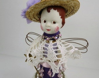 "Assemblage Angel, Art Doll, ""Pretty in Purple""  Assemblage Art Doll"