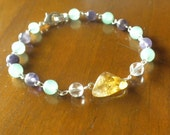 Citrine, Amethyst and Green Aventurine Bracelet; Healing, Yoga, Meditation, Energy, Chakra