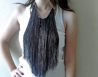 Long Fringe Necklace/Bohemian Necklace, Fringe Choker Statement Necklace, Gift For Her