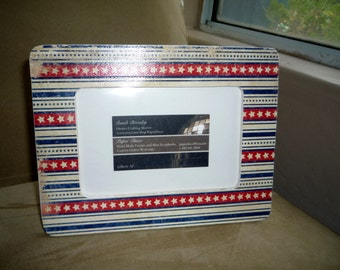 American flag photo frame, 4th of July, Summer Picture Frame Patriotic, America, Stars and Stripes, Picture Frame, Red, White and Blue Photo