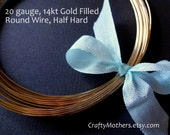 2 feet, 20 gauge 14kt Gold Filled Wire - Round, HALF HARD, 14K/20, wire wrapping, earrings, necklace, precious metals