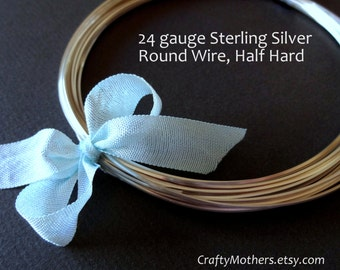 5 feet, 24 gauge Sterling Silver Wire, Round, HALF HARD, solid .925 sterling silver, wire wrapping, earrings, necklace, precious metals