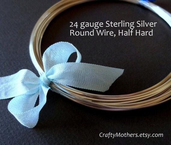 5 feet, 24 gauge Sterling Silver Wire, Round, HALF HARD, solid .925 sterling silver, wire wrapping, earrings, necklace, precious metals