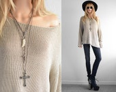 Minimalist Knit Sweater Asymmetric Oversized Sweater Womens Sweaters 90s Grunge Goth Minimalist Neutral 90s Clothing Hipster Sweater OS