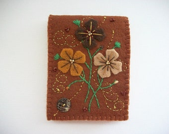 Needle Book Brown Felt Cover with Hand Embroidered Felt Flowers and Golden Swirls Handsewn