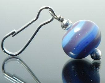 Decorative Zipper Pull for purses, jackets, backpacks and wallets, periwinkle with puple swirl, handmade lampwork glass