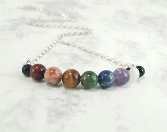 """Seven Chakra Necklace, 6mm beads, Sterling Silver Chain, 18"""", Therapeutic Gemstones"""