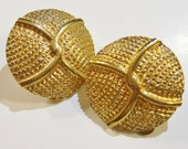 clip on earrings, vintage gold tone round bumpy clip on earrings 14IN