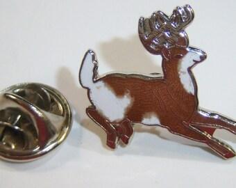vintage brown and white antlered leaping deer vintage tack tie tacktie brooch pin 14IN