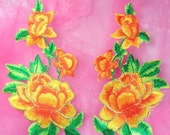 """GB156 Yellow Rose Mirror Pair Embroidered Appliques 6"""" (GB156X-ylgl)"""