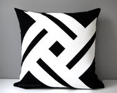 Black & White Outdoor Pillow Cover, Modern Geometric Pinwheel, Decorative Pillow Case, Masculine Sunbrella Throw Cushion Cover, Mazizmuse