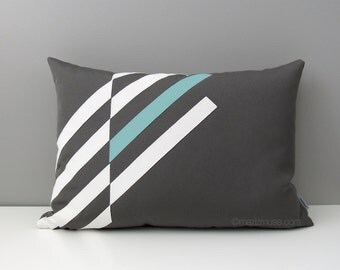 Grey & Aqua Blue Outdoor Pillow Cover, Modern Pillow Cover, White Geometric Throw Pillow Case, Decorative Sunbrella Pillow Cushion Cover