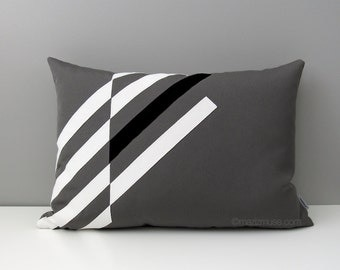 Black White & Grey OUTDOOR Pillow Cover, Modern Geometric, Decorative Throw Pillow Case, Gray Masculine Decor, Sunbrella Cushion, Mazizmuse