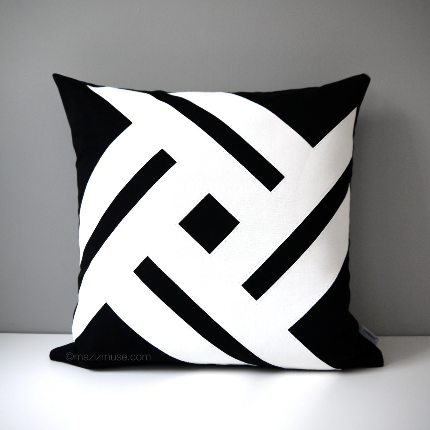 Modern White Pillow : Modern Black & White Outdoor Pillow Cover Decorative Pillow