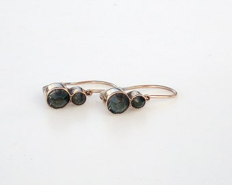 Antique 14k Gold Earrings Dark Green Stones