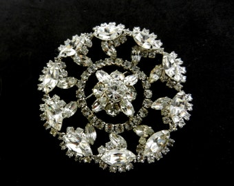 50s vintage Large Round Rhinestone Brooch/Pin Featuring Faceted Rhinestones and incredible glow -Original design and dazzling - Art.775/3 -
