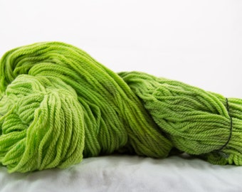 Hand-dyed Worsted Yarn, Cush Worsted, Granny Smith, Made in the USA