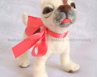 NEEDLE FELTED Pitbull Terrier OOAK Pitty Artist Made Rescue Pup By Sarah Shy