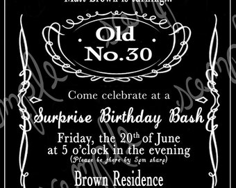 Adult Black and White Whiskey 30th, 40th, 50th Birthday Party Invitation Printable Digital File