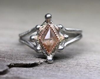 Rose-Cut Kite Shaped Diamond Engagement Ring Palladium 14K Rose Gold Gray Rust Brown Elegant Natural Gemstone Split Shank - Royal Rhombus
