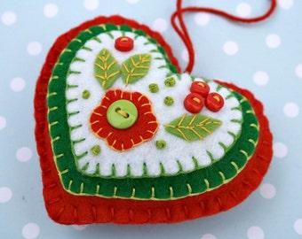 Felt Christmas ornament, Handmade felt heart ornament, handmade christmas ornament, embroidered felt heart ornament. Red green felt heart.