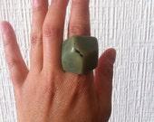 Vintage Sage Green Geometric Ring Boho Mod