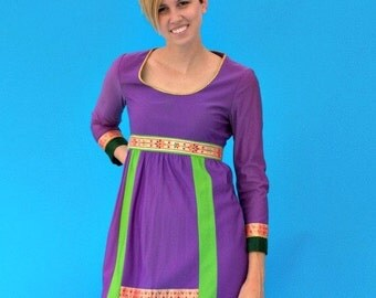 Vintage 1970s Hippie Folk Eloise Curtis Sari Inspired Tunic Dress.