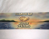 Vintage TILLAMOOK BAY Whole OYSTERS Can / Jar Paper Label Lot • 11 count