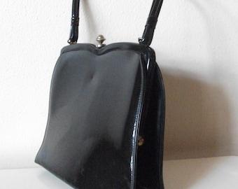 60s Black Patent Leather Handbag