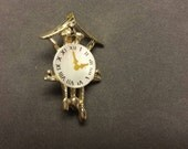 Un-marked Gold Tone Cookoo Clock Scatter Pin Brooch