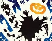 Japanese Tenugui Towel Cotton Fabric, Kawaii & Funny Halloween Fabric, Bat, Pumpkin, Hand Dyed Fabric, Modern Art Fabric, Home Decor, k137
