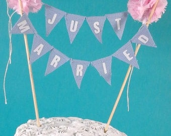 "Wedding Cake bunting, Blue, Pink, wedding cake banner ""Just Married"" F039B cake banner"