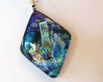 Dichroic Diamond Shaped Fused Glass Pendant - Fused Jewelry - Dichroic Fused Glass Necklace - Sparkling Dichroic Glass - 21-15